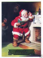 image of a jolly Santa by a fireplace