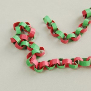 photo of red and green paper chain